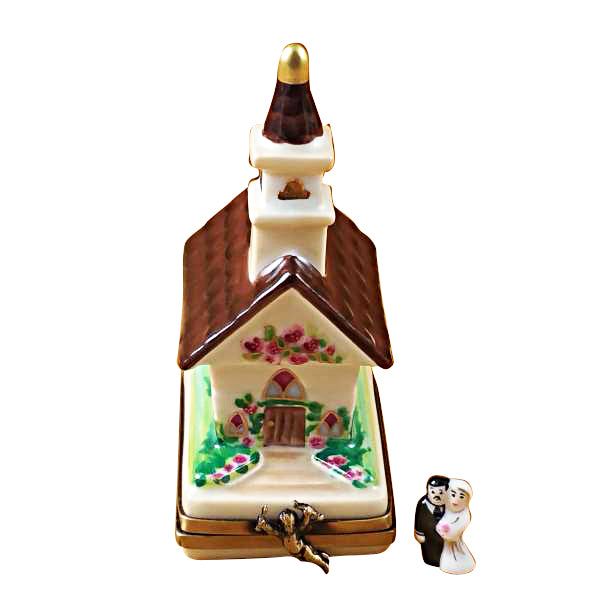 Wedding Church with Removable Bride and Groom Limoges Box