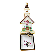 Load image into Gallery viewer, Wedding Church with Removable Bride and Groom Limoges Box