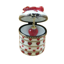 Load image into Gallery viewer, Round Valentine with Dangling Heart Limoges Box