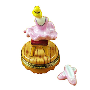 Blond Hair Ballerina with Toe Shoes Limoges Box