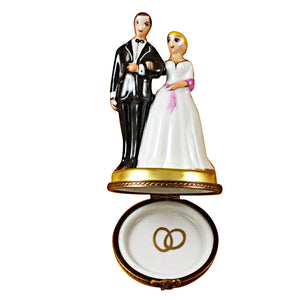 Bride with Pink Sash & Groom Limoges Box