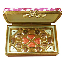 Load image into Gallery viewer, Pink/White Gift Box with Chocolates Limoges Box