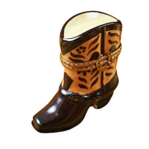 Brown Cowboy Boot Limoges Box
