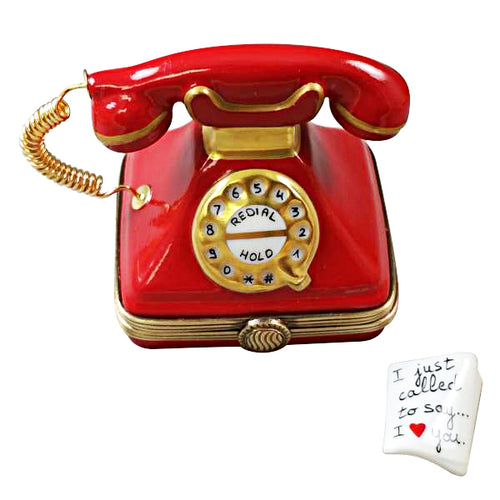 Red Telephone with Removable Message Limoges Box