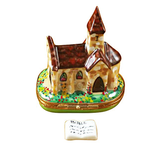 Church with Removable Porcelain Bible Limoges Box
