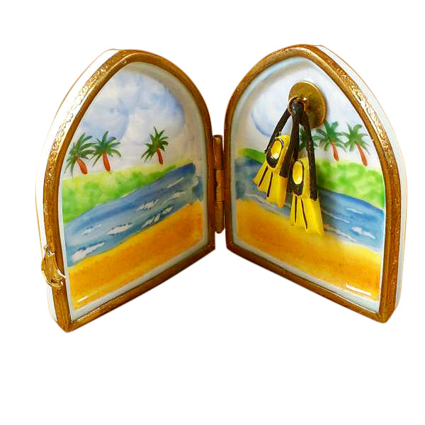 Scuba Diver's Flippers in Window Limoges Box