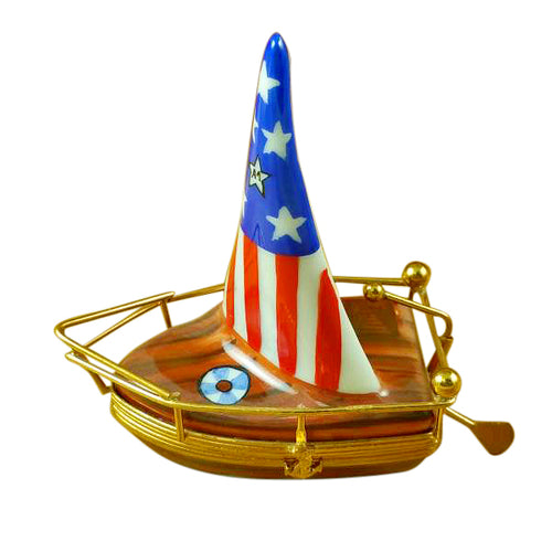 USA Sailboat with Rudder Limoges Box