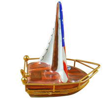 Load image into Gallery viewer, USA Sailboat with Rudder Limoges Box