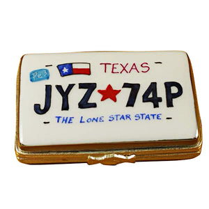 Texas License Plate Limoges Box