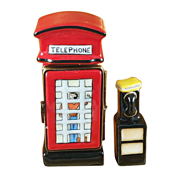 British Phone Booth with Removable Telephone Limoges Box