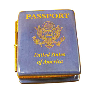 Blue United States Passport Limoges Box