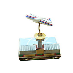 Airport with Flying Plane Limoges Box