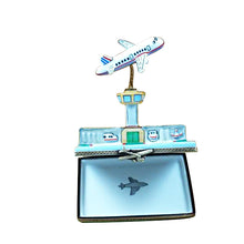 Load image into Gallery viewer, Airport with Flying Plane Limoges Box