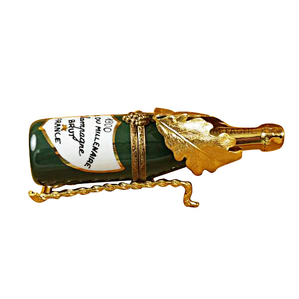 Champagne in Brass Grape Leaves Holder Limoges Box