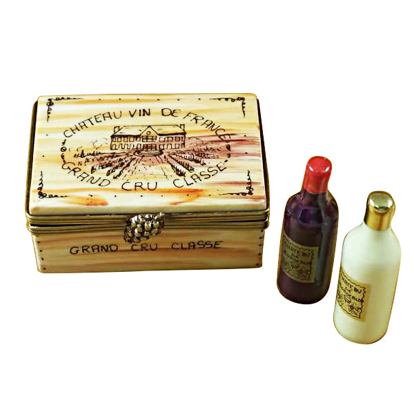 Wine Crate with 2 Bottles Limoges Box