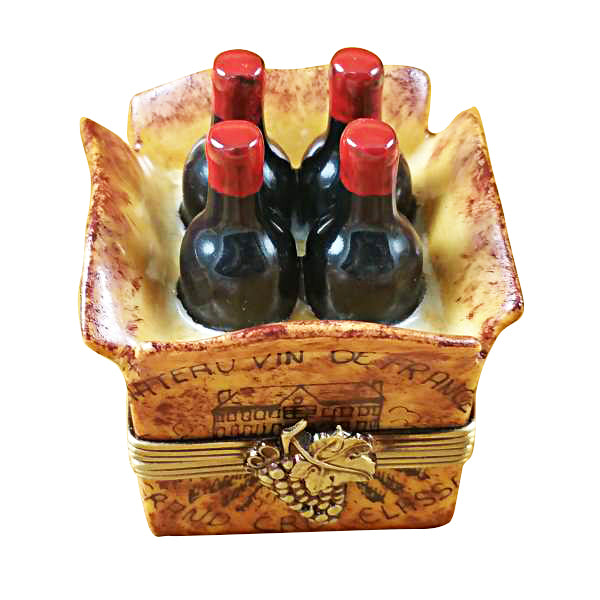 Crate of 4 Wine Bottles Limoges Box