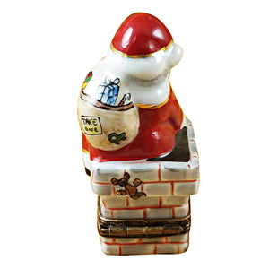 Santa in Chimney Limoges Box