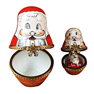 3 Stacking European Santas Limoges Box