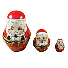 Load image into Gallery viewer, 3 Stacking European Santas Limoges Box