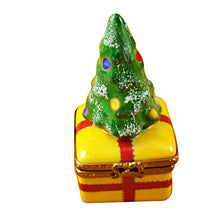 Load image into Gallery viewer, Christmas Tree on Yellow Base Limoges Box
