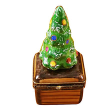 Load image into Gallery viewer, Small Christmas Tree on Brown Base Limoges Box