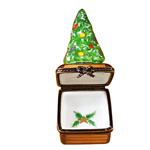 Small Christmas Tree on Brown Base Limoges Box