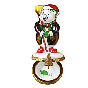 Small Laughing Snowman Limoges Box
