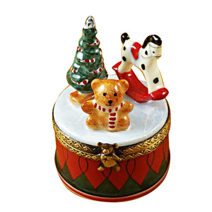 Christmas Drum with Toys Limoges Box