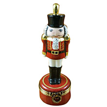 Load image into Gallery viewer, Nutcracker with Plume on Red Base Limoges Box