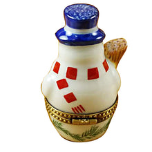 Load image into Gallery viewer, Snowman with Blue Hat Limoges Box
