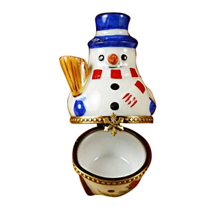 Snowman with Blue Hat Limoges Box