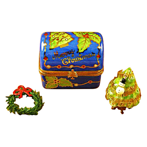 Christmas Trunk with Removable Tree & Wreath Limoges Box