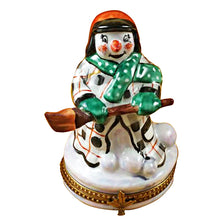 Load image into Gallery viewer, Snowman with Coat Limoges Box