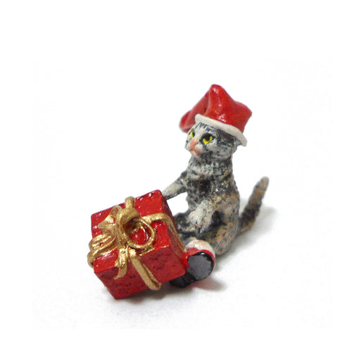 Cat with Christmas Cap and Gift Vienna Bronze Figurine