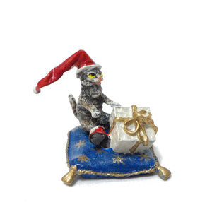 Cat On Pillow with Christmas Cap & Gift Vienna Bronze Figurine