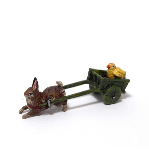 Rabbit with Cart & Chick Vienna Bronze Figurine