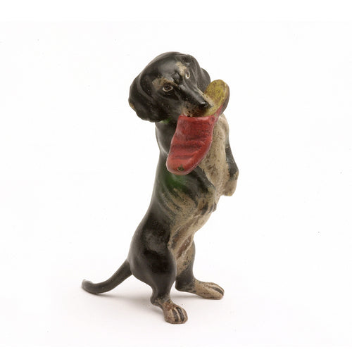 Dachshund With Slipper Vienna Bronze Figurine