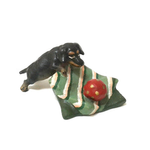 Dachshund On Pillow / Ball Vienna Bronze Figurine