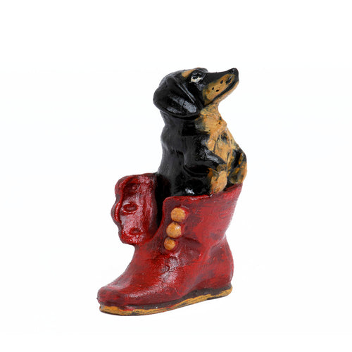Dachshund In Boot Vienna Bronze Figurine