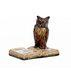 Owl On Book Vienna Bronze Figurine