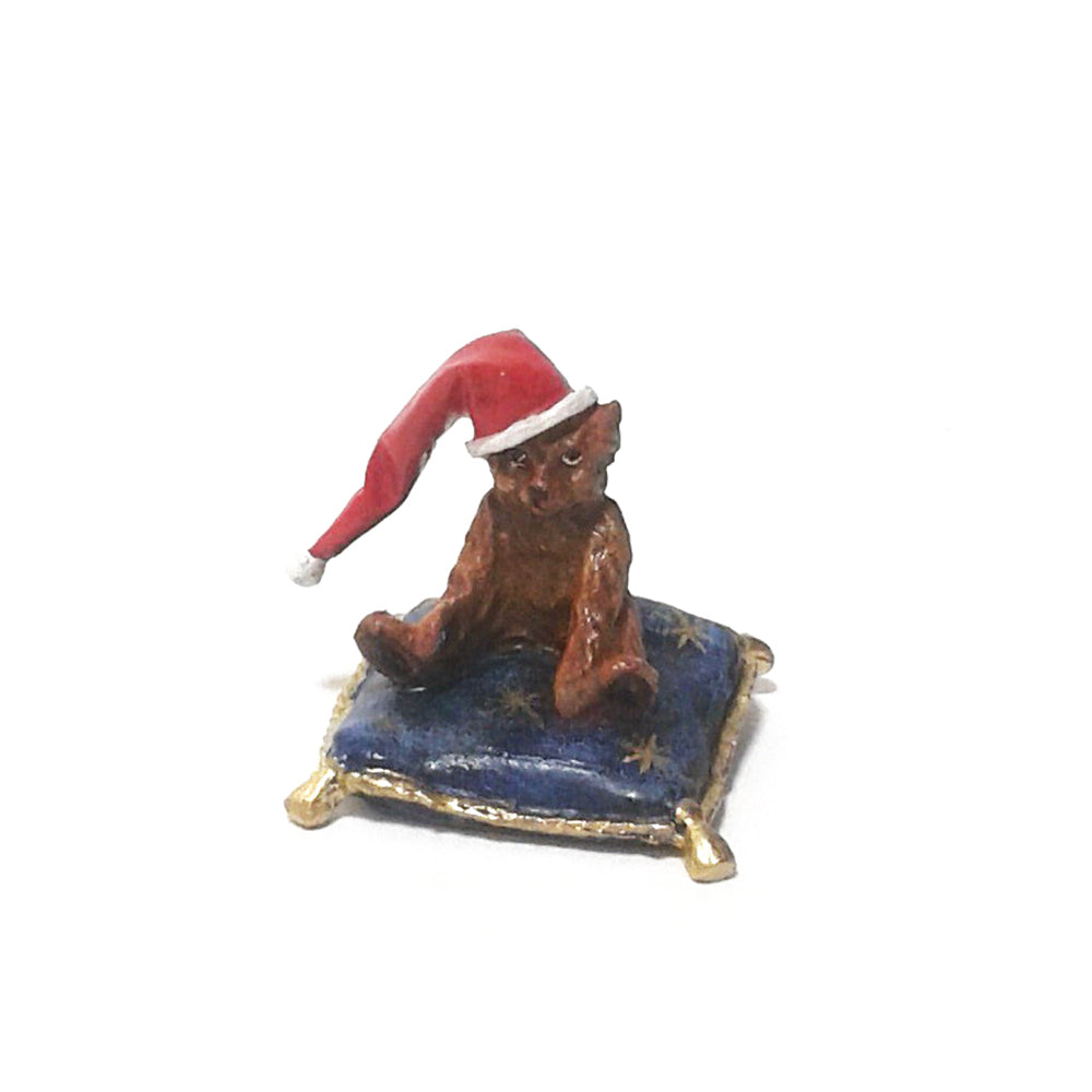 Bear On Pillow with Christmas Cap Vienna Bronze Figurine
