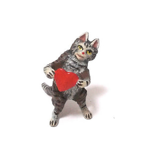 Cat With Heart Vienna Bronze Figurine
