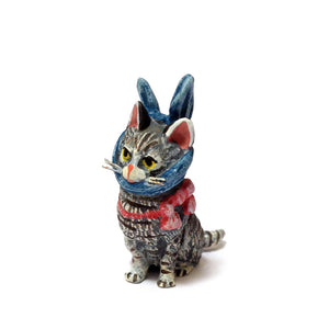 Cat With Toothache / Blue Ribbon Vienna Bronze Figurine