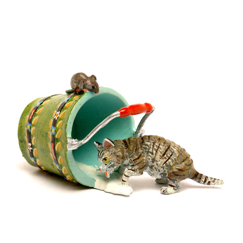 Cat Pail And Mouse Vienna Bronze Figurine
