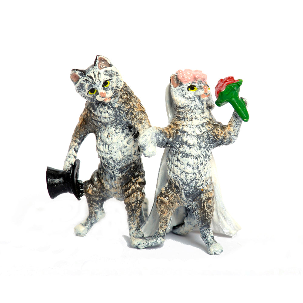 Cat Wedding Couple Vienna Bronze Figurine