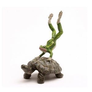 Frog On Turtle Vienna Bronze Figurine