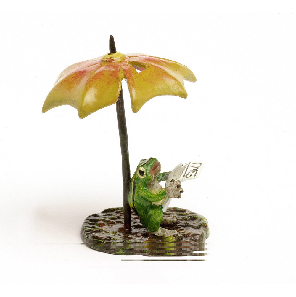 Frog Newspaper, Umbrella Vienna Bronze Figurine