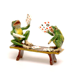 Frogs Playing Cards Vienna Bronze Figurine