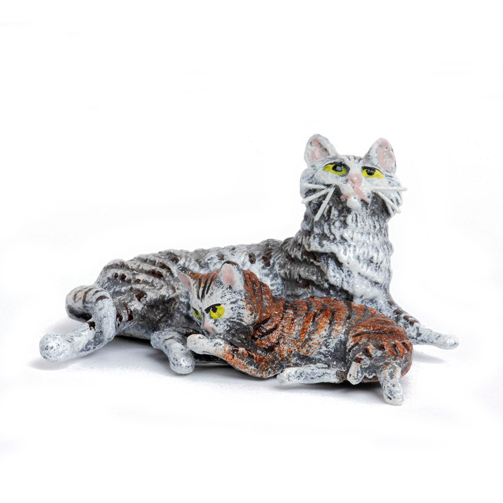 Cat Mother Lying With Baby Vienna Bronze Figurine
