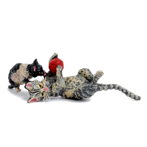 Cat Mother Plays With Kitten / Wool Vienna Bronze Figurine
